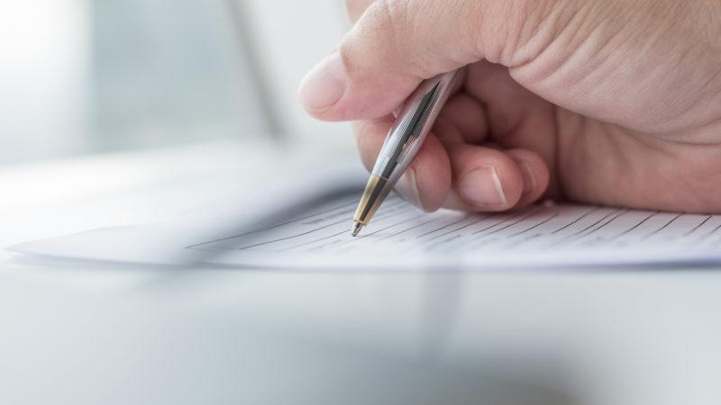 文字を書く 手